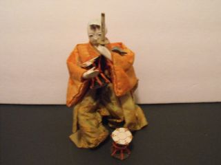 Japanese Antique Small Boy Gofun Man Doll With Two Drums photo