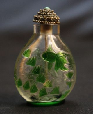 Antique Snuff Bottle Chinese Peking Glass 20th Century With Stopper photo
