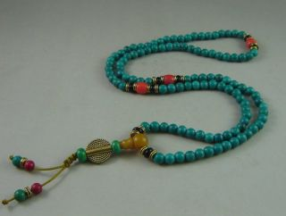 Chinese Tibet Turquoise Carved Necklace photo