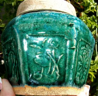 Antique Chinese Pottery Shiwan Jade Green Glazed Ginger Spice Preserve Jar Nr photo