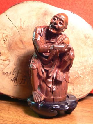 Exquisite Antique Chinese Wood Carving Rohan Statue photo