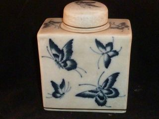 Unusual Vintage Chinese Blue And White Butterfly Ginger Jar photo