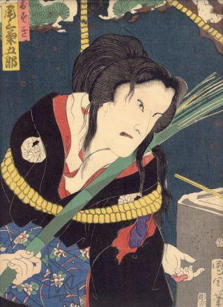 Japanese Woodblock Print Kabuki Actor Picture Ukiyoe Kunichika 1 Onoe photo