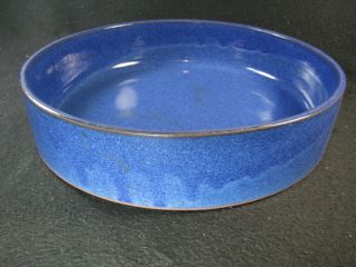 Japanese Vintage Round Ceramic Ikebana Hirokuchi Suiban Vase Drip Cobalt Glaze photo