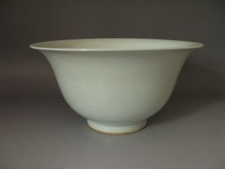 Rare Chinese White Glazed Porcelain Carved Dragon Phoenix Bowl photo