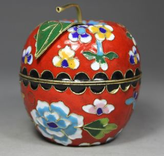 Chinese Old Cloisonne Handwork Painting Flower Jewel Box photo