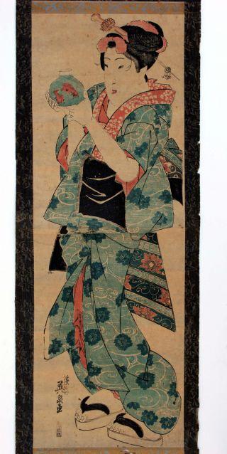 Eisen Japanese Woodblock Print $1 Start Vertical Diptych photo