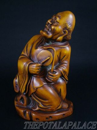 Old Chinese 18/19thc.  Boxwood Carved Statue/sculpture Damo Buddha photo