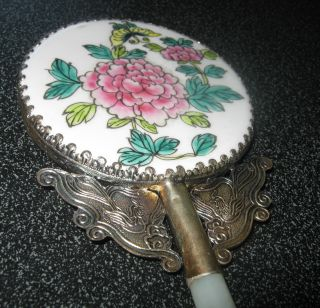 Vintage Antique Japanese Cloisonne Hand Mirror With Jade Handle photo