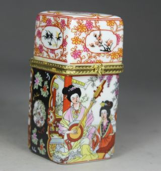 Chinese Porcelain Handwork Painting Belle/ Flower Snuff Box/ Toothpick Box photo