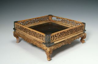 Antique Chinese Carved Bone And Wood Tray With Inlay + Silver Accents photo