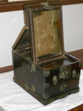 300 Year Old Rare Chinese Cherry Wood Jewellery Makeup Box Early 18th Century photo