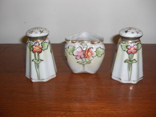 Stunning 1930 ' S Art Nouveau Hand Painted Salt And Pepper 3 Pc Set From Japan photo