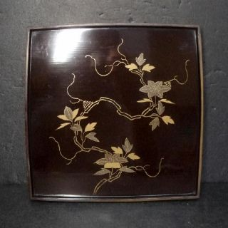 F387: Real Old Japanese Lacquer Ware Dinner Tray With Flower Makie photo