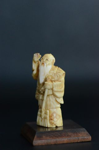 Old Netsuke Man With Digger Signed On The Bottom Mid 20th Century + Wooden Stand photo