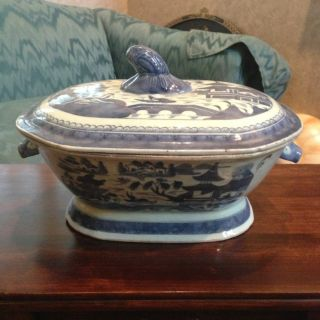 Large Antique Chinese Export Blue And White Boars Head Tureen - 18c photo
