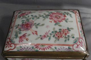 Antique Porcelain Brass Famille Rose Verte Chinese Export Hinged Box Trinket photo