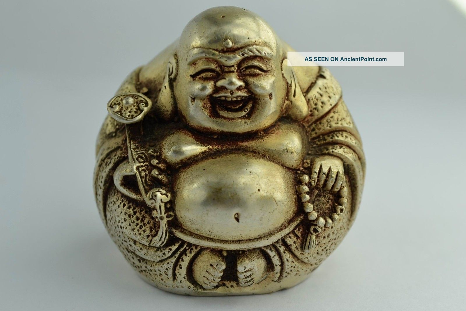Orient Old Collectibles Decorated Handwork White Copper Exorcism Buddha Statue Buddha photo
