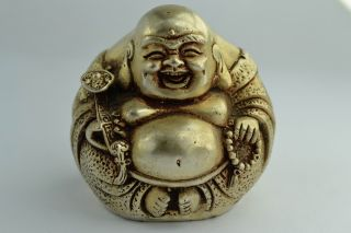 Orient Old Collectibles Decorated Handwork White Copper Exorcism Buddha Statue photo