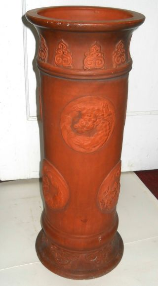 Antique Japanese Terra Cotta Dragons Umbrella Stand photo
