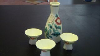 Antique Vintage Sake Set Gold And Flowers Two Sided Design photo