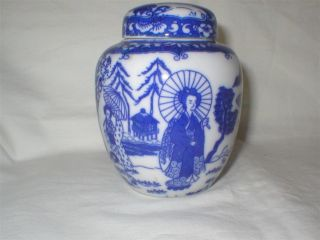 Vintage Chinese Blue And White Porcelain Covered Jar photo