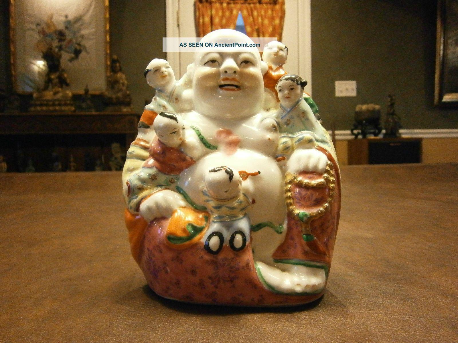 Vintage/old Ho Tai Signed Buddha Statue.  Playful Peacful Presence Buddha photo