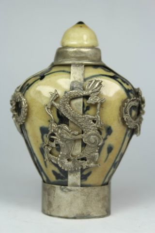Chinese Handwork Painting Dragon Phoenix Old Porcelain Snuff Bottle photo