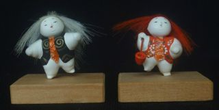 Pair Of Japanese Doll Keshi,  Tokyo Area 1970 ' S,  Miniature 1.  5 Inches Tall photo