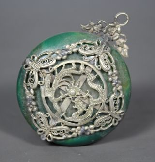 Chinese Handwork Dragon Old Jade Pendant photo