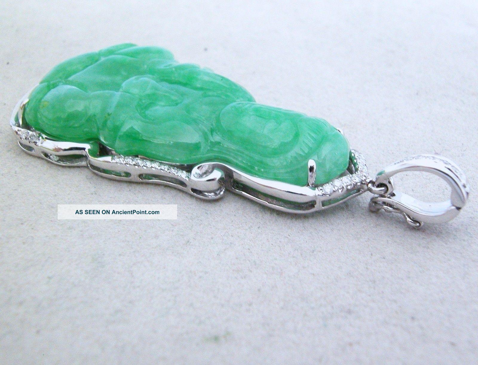 Chinese 14k white gold green jadeite jade kwan yin pendant w chinese 14k white gold green jadeite jade kwan yin pendant w diamonds 10 8 gr aloadofball Images