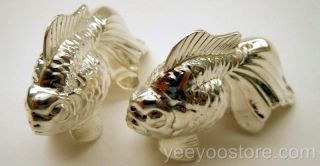 Rare Chinese Export Sterling Silver Salt - Pepper Gold - Fan Tail Fish Shakers photo