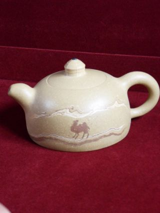 Antique Chinese Yixing Teapot Camel Design,  Signed & Marked,  Handmade Pottery photo