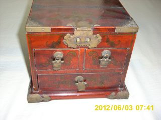Chinese Rare Antique Wood Leather Dragon And Phoenix Jewelry Box photo