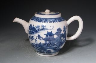 18c Antique Chinese Export Blue And White Pot With Landscapes photo