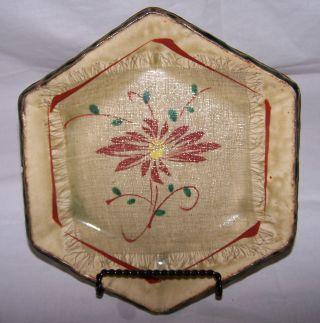 1880 - 1890 Japanese Kutani Oribe Fabric Marked Impressed Stoneware Dish Signed photo