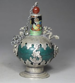 Chinese Handwork Dragon Phoenix Old Jade Snuff Bottle photo