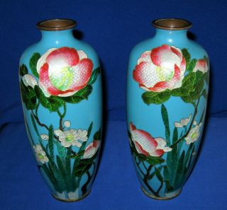 Antique 19thc Pair Left / Right Japanese Meiji Ginbari Cloisonne Enamel Vases photo