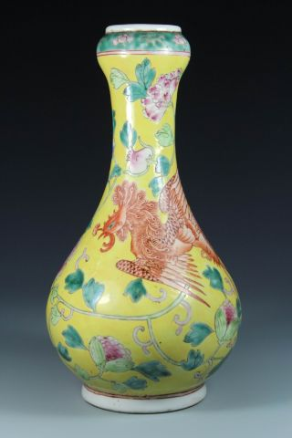 Chinese Handwork Painting Phoenix Flower Old Porcelain Vase photo