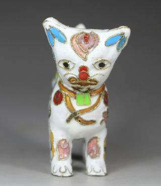 Chinese Handwork Painting Cat Old Cloisonne Statue photo