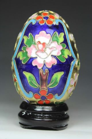 Chinese Old Closionne Handwork Flower Egg Statue Decoration + Stand photo