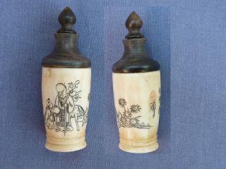 Bone & Horn Man Boy & Deer Design Scent Bottle photo