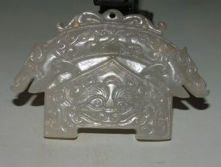 Ancient Chinese Hetian Jade Hand - Carved Pendant (double Loong Pendant) 3.  5inch photo