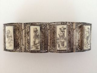 Antique Chinese Sterling Silver Filigree Scrimshaw Ox Bone 8 Immortals Bracelet photo