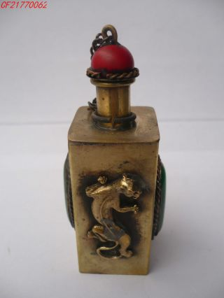 Chinese Snuff Bottle,  Carving The Mythical Wild Animal,  Copper 2 photo