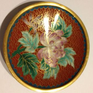 Vintage Chrysanthum Cloisonne Enamel Small Plate (red) photo