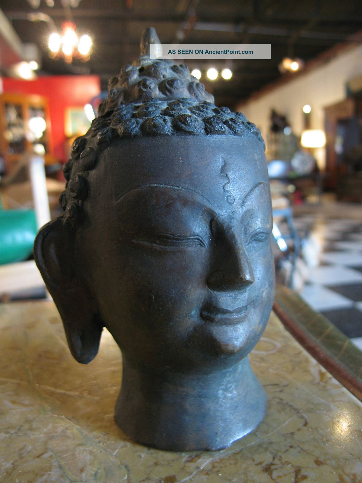Antique Asian Likely Chinese Metal Bust Of Tai Buddha Buddha photo