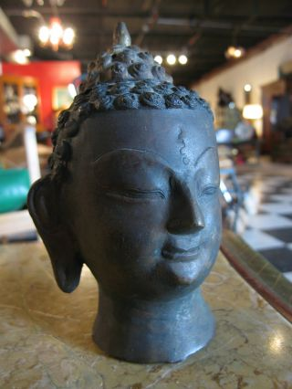 Antique Asian Likely Chinese Metal Bust Of Tai Buddha photo