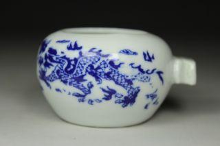 Chinese Old Porcelain Handwork Painting Dragon Bird Feeder Jar photo