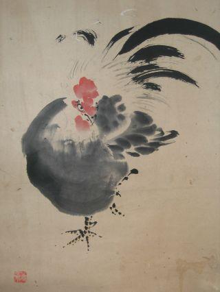 Japanese Scenic Classic Rooster Hand Painted Scroll Kakejiku 129 photo